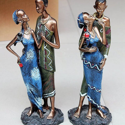 African Black Couple Resin Crafts Decorative Sculptures - Moses Chikoti