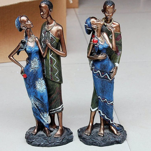 African Black Couple Resin Crafts Decorative Sculptures