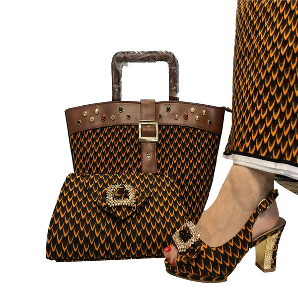 African Fashion Wax Fabric HandMade Shoes And Bag Set - High Quality Elegant Pumps  And Matching HandBag