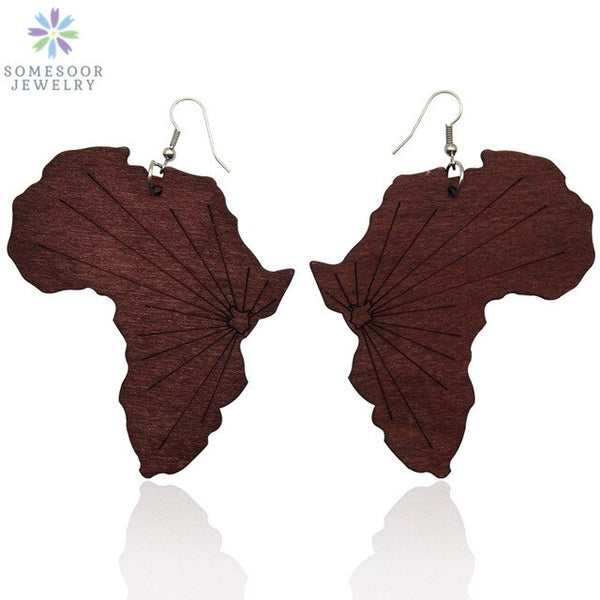 SOMESOOR  African Handmade Wooden Drop Earrings With AFRO Motherland Map