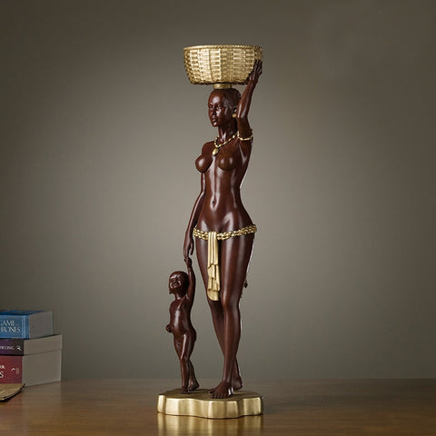 African Family Impression Copper Decorative Art Sculpture