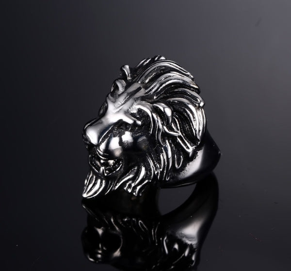 Stainless Steel Ring, Titanium Look  For Men With AFRICAN LION KING Theme