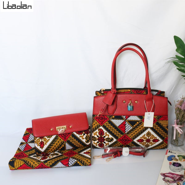 Popular African Red Print Wax Handbag & Purse With Matching  6 Yards African Cotton Wax Ankara Fabric