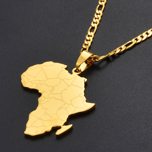 Hip-hop Style Africa Map Pendant Necklace In Gold Or Silver Color For Women & Men - Moses Chikoti