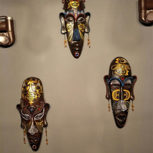 Hand Painted African Masks - Wall Hanging Crafts For Home Or Office