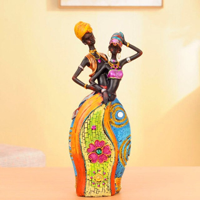 African Style Figurine Resin Statue