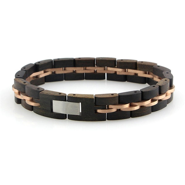 African Black Wooden Bracelet For Men With A Stainless Steel Chain Link
