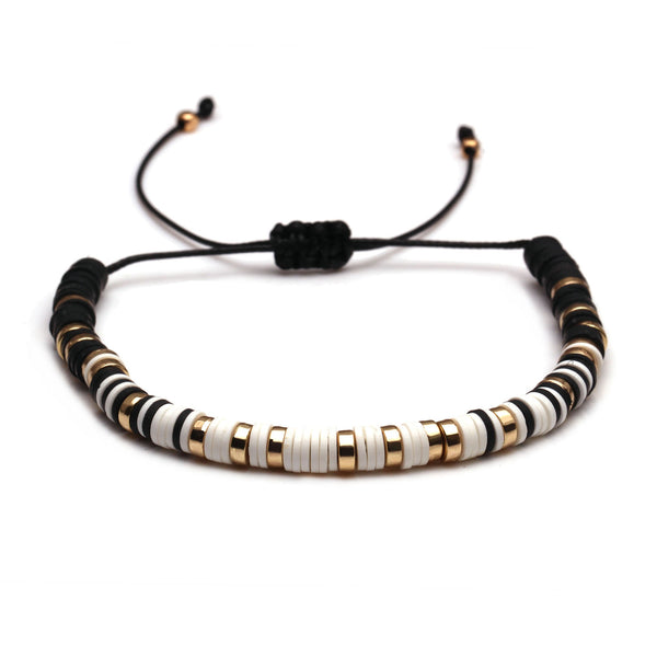 African Vinyl Heishi Beads Jewellery Bracelet For Men & Women With Black Waxed String