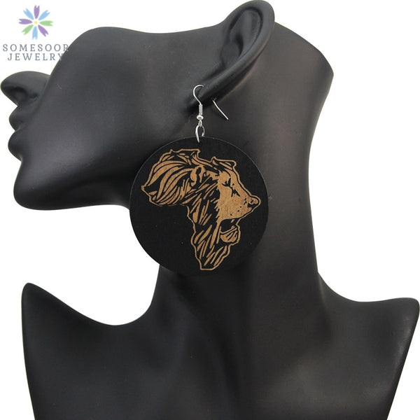 Afrocentric Ethnic Engraved Wooden Drop Earrings - African Lion On African Map