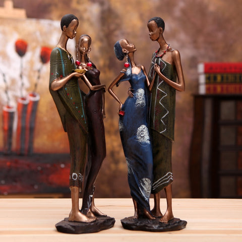 African Couples In Love Resin Sculptures
