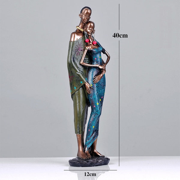 African Couples In Love Resin Sculptures - Moses Chikoti