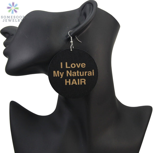 "Africa Wood Drop Earrings - ""I Love My Natural Hair"" Design Jewelry For Women"