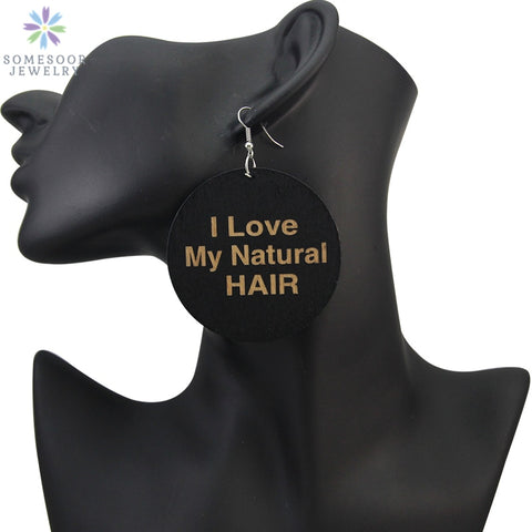 "Africa Wood Drop Earrings - ""I Love My Natural Hair"" Design Jewelry For Women - Moses Chikoti"
