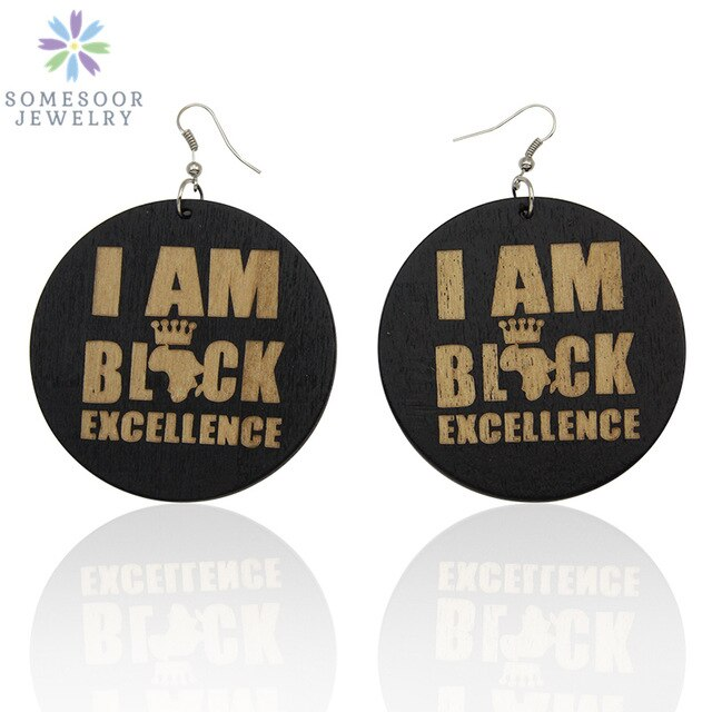 "Engraved Wood African Earrings - ""I am Black Excellence"" Afrocentric Jewelry For Women"