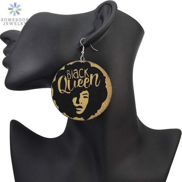 Black Queen Carved African Natural Wooden Drop Earrings - Gift Jewelry - Moses Chikoti