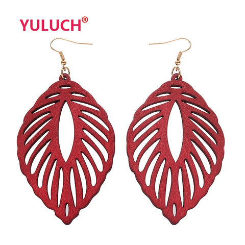 YULUCH Ethnic Handmade Wooden Leaves Jewellery - African Fashion  Pendant Earrings - Moses Chikoti