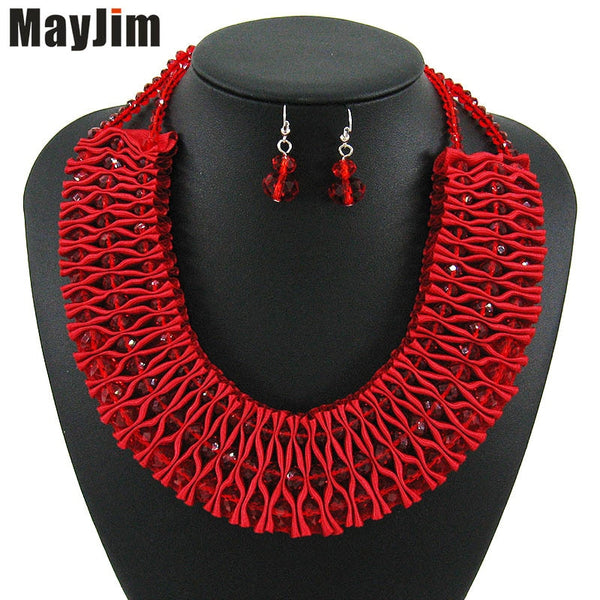 MayJim Statement African Beads crystal Red Handmade Necklace Jewelry Sets