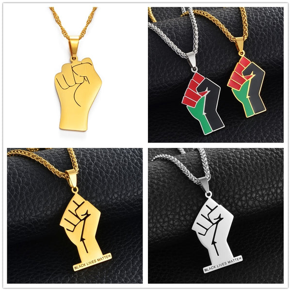 Black Lives Matter Fist African Pendant Necklace For Women & Men In Silver or Gold