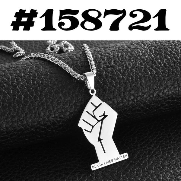 Black Lives Matter Fist African Pendant Necklace For Women & Men In Silver or Gold - Moses Chikoti