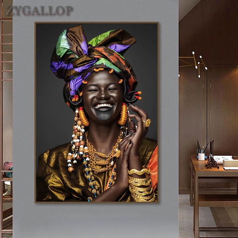 African Woman Canvas Wall Painting On - African Art Decoration