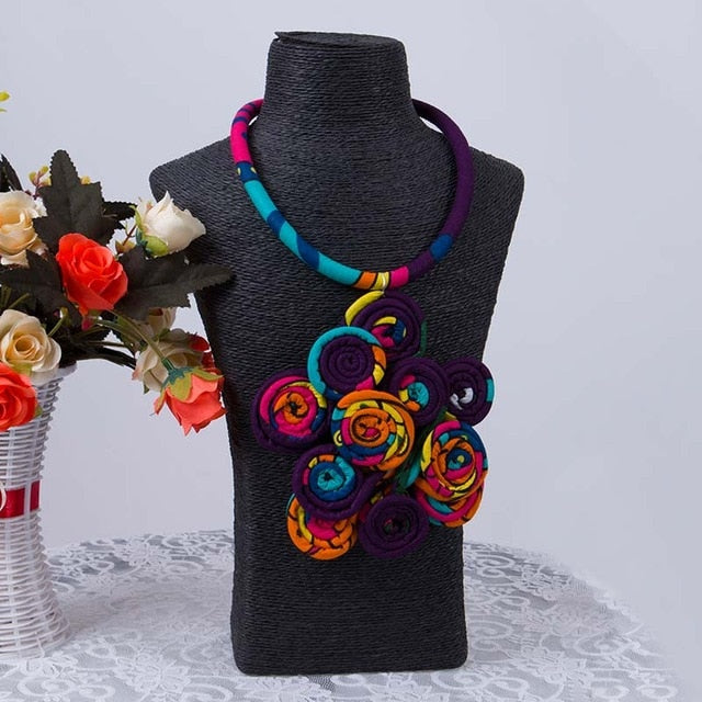African Print Handmade Necklace - Ankara Chain Necklace  For Women