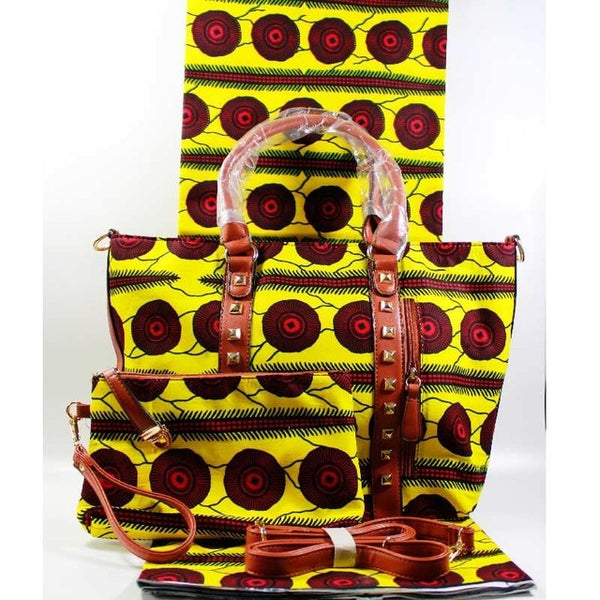 African Wax Print Handbag & Purse With Matching  6 Yards African Cotton Wax Printed Fabric