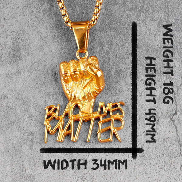 Black Lives Matter Necklace & Fist African Stainless Steel Pendant Jewellery For Men
