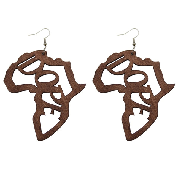 Handmade African Map Engraved Wooden Drop Earrings Jewelry