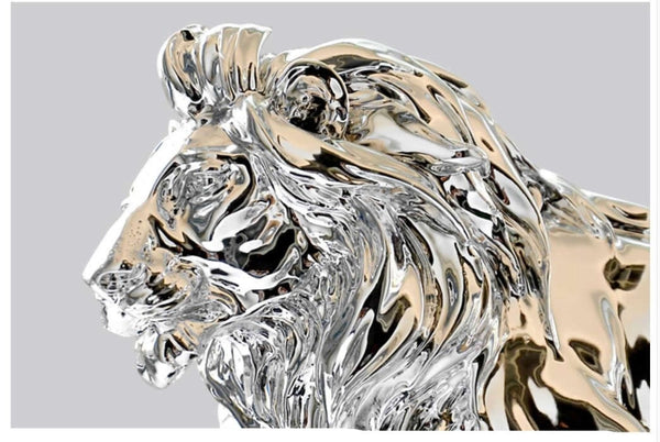 African Ferocious Lion Sculpture In Silver or Bronze