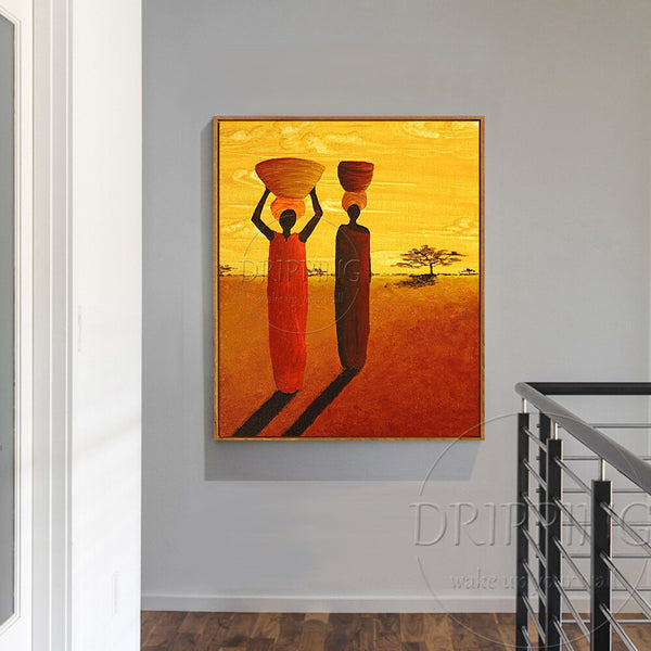 Hand-painted High Quality African Women Oil Painting