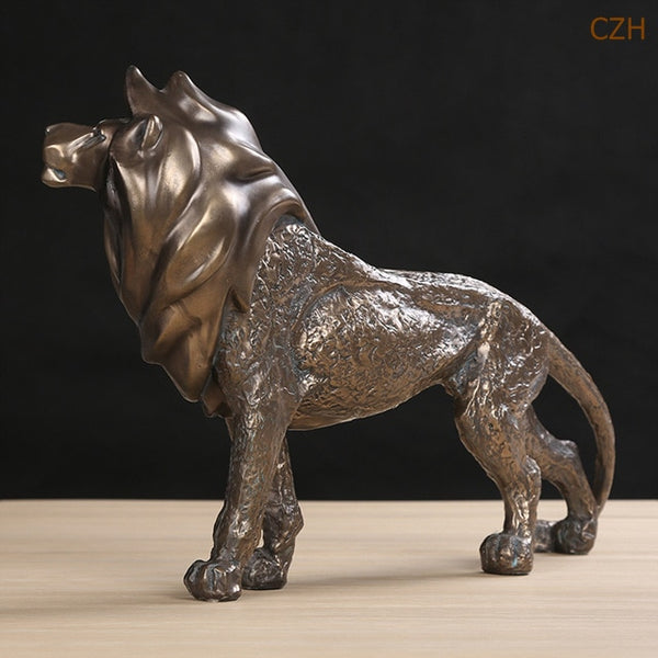 Handmade Resin African Lion Sculpture