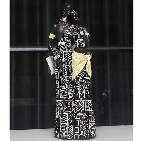 African Couple Resin Sculpture - Moses Chikoti