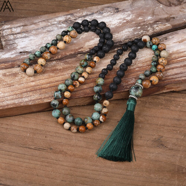Natural African Turquoises Stone Beads  Handmade Necklace