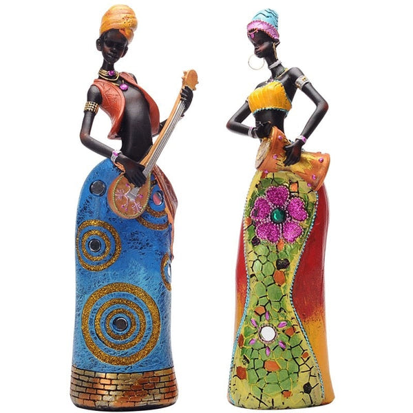 Colourful & Beautiful African Women Resin Figurines