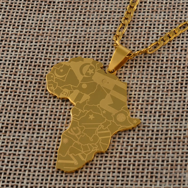 Anniyo Silver Color Or Gold Color Africa Map With Flag Pendant Chain Necklace - For Women & Men