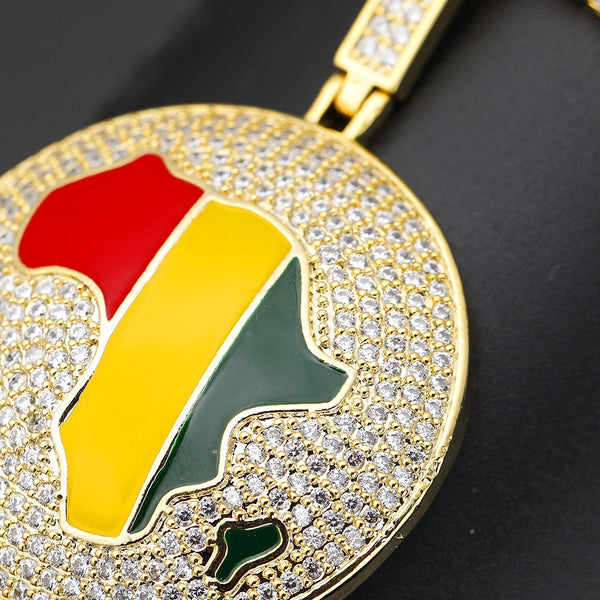 Enamel African Map Pendant Necklace With Cubic Zirconia Chain for Men & Women - Moses Chikoti