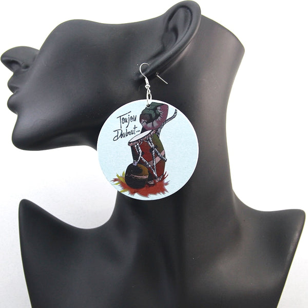 SOMESOOR African Ethnic Power Fist Wooden Drop Handmade Earrings - Women Gifts - Moses Chikoti