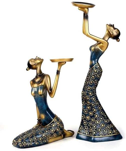 African Women Figurines Sculptures For Home Decor
