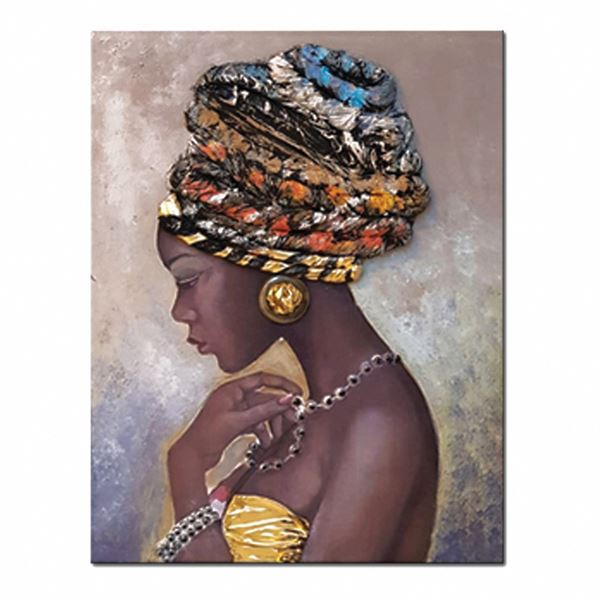 Luxurious Canvas Embroidered Texture Painting Of African Woman In Turban  - 100cm x 150cm