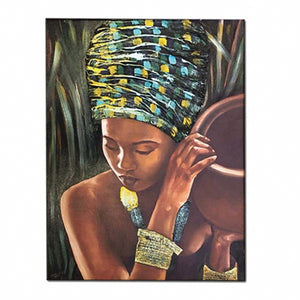Luxurious Canvas Embroidered Texture Painting Of African Woman In Turban  - 100cm x 150cm - Moses Chikoti