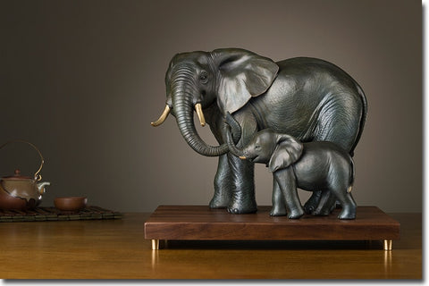 African Elephant Family Bronze Sculpture - Moses Chikoti