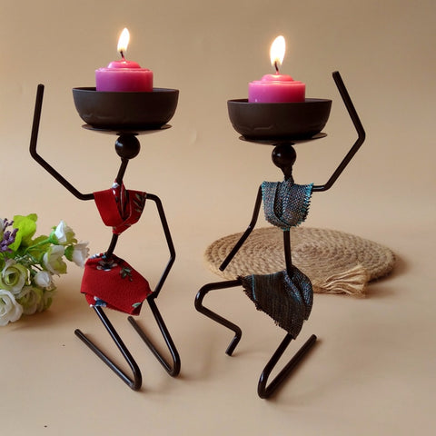 10 Pieces Creative African Woman Iron Art Candles Holders