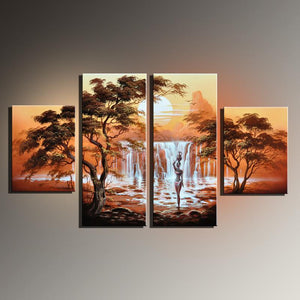 Four-Panel Hand-painted Canvas Oil Painting