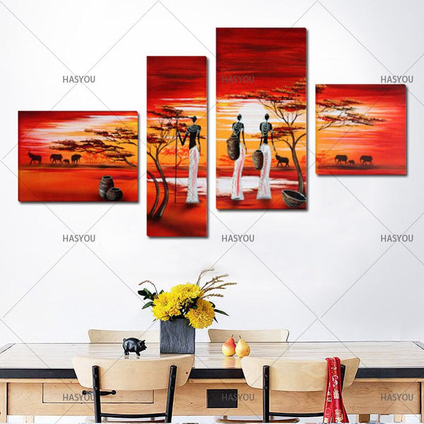 Four-Piece Handpainted African Women Canvas Oil Painting