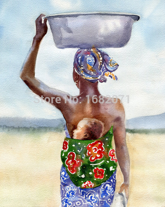 High Quality African Decorative Canvas Oil Painting Of A Mother & Child