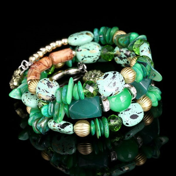 New Design Handmade African Beads Cuff Bangle & Bracelets - Multi Layers Natural Shells Stone Beads Wrist Jewelry - Moses Chikoti