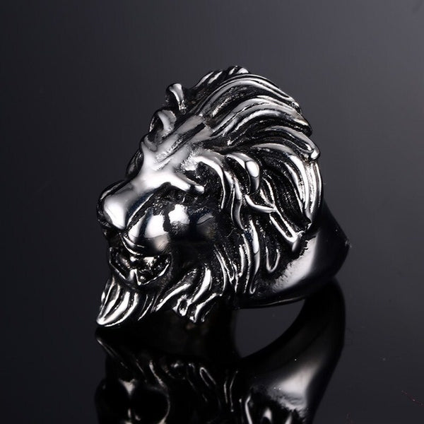 Stainless Steel Ring, Titanium Look  For Men With AFRICAN LION KING Theme - Moses Chikoti