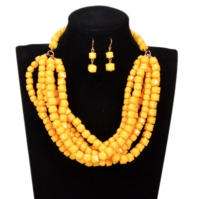 Handmade Multi layer Beads Necklace/Earring Sets - Choker Necklace African Beads Jewelry Sets