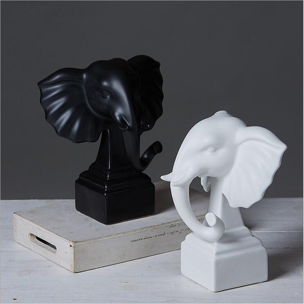 African Elephant Figurine Home Decor - Black And White Series Of Ceramics Statues - Moses Chikoti