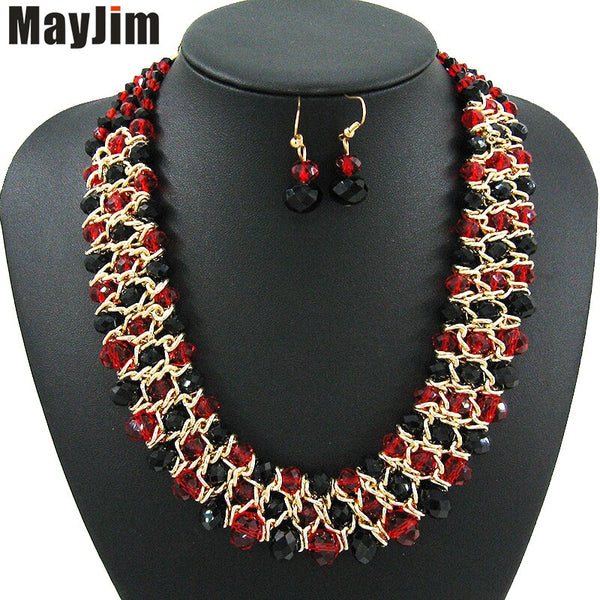 Statement Handmade African Beads Crystal Necklace Jewelry Sets  With Gold Chain